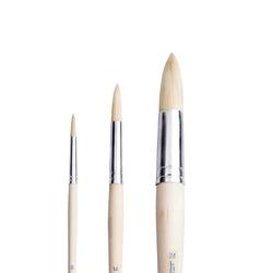 Pebeo - 258R Beyaz Kıl Yuvarlak Yağlı Boya Fırçası