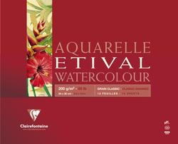Clairefontaine - Etival Classic Suluboya Bloğu 24x32cm 200gr 30 Yaprak Kısa Kenar Yapışkanlı