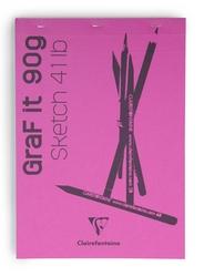 Clairefontaine - Grafit Blanc Çizim Bloğu A4 90gr 80 Yaprak Üstten Yapışkanlı