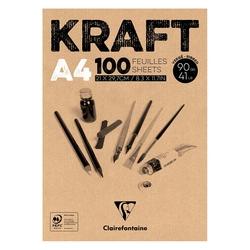 Clairefontaine - Kraft Çizim Bloğu A4 90gr 100 Yaprak Üstten Yapışkanlı