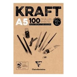 Clairefontaine - Kraft Çizim Bloğu A5 90gr 100 Yaprak Üstten Yapışkanlı