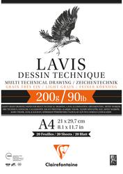 Clairefontaine - Lavis Multi Teknik A4 200gr 20 Yaprak Defter