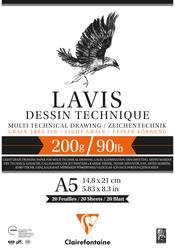 Clairefontaine - Lavis Multi Teknik A5 200gr 20 Yaprak Defter