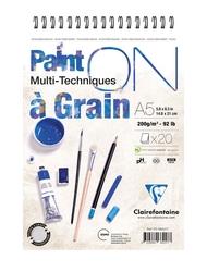 Clairefontaine - Paint-On A Grain Çizim Bloğu A5 200gr 20 Yaprak Üstten Spiralli