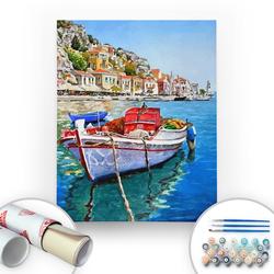 Bir Kutu Sanat - Akdeniz Sahili - Tuval Üzerine Sayılarla Boyama Seti 40x50cm