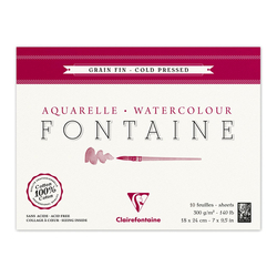 Clairefontaine - Fontaine Dokulu Suluboya Bloğu 18x24cm 300gr 10 Yaprak Kenarı Yapışkanlı