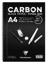 Clairefontaine - Carbon Siyah Çizim Bloğu A4 120gr 20 Yaprak Yandan Spiralli