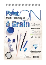 Clairefontaine - Paint-On A Grain Çizim Bloğu A4 200gr 20 Yaprak Üstten Spiralli