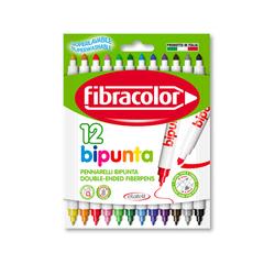 Fibracolor - Fibracolor Bipunta Çift Uçlu Keçeli Kalem 12 Renk