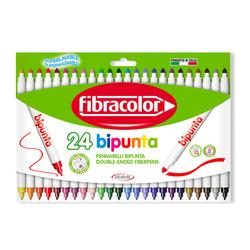 Fibracolor - Fibracolor Bipunta Çift Uçlu Keçeli Kalem 24 Renk
