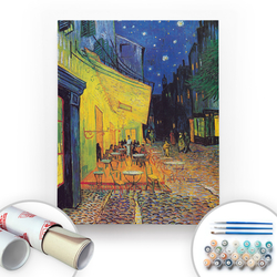 Bir Kutu Sanat - Van Gogh, Cafe Terrace at Night - Tuval Üzerine Sayılarla Boyama Seti 40x50cm
