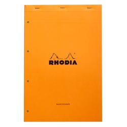 Rhodia - 21x31,8cm Kareli Blok Turuncu Kapak 4 Delikli Sarı Kağıt 80 Yaprak
