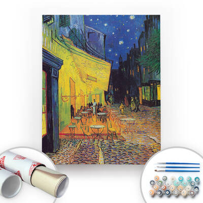 Van Gogh, Cafe Terrace at Night - Tuval Üzerine Sayılarla Boyama Seti 40x50cm